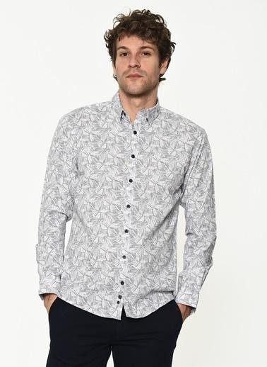 George Hogg George Hogg Uzun Kollu Slim Fit Desenli Erkek Gömlek Beyaz